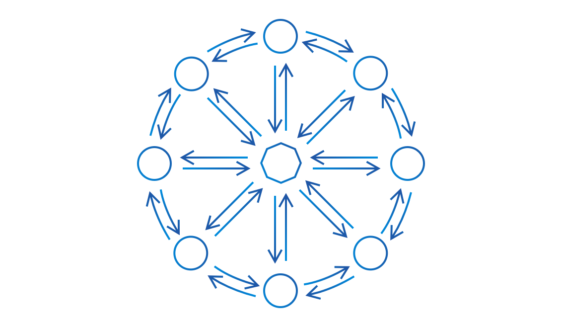 Illustration showing arrows connecting various circles, representing individuals, and an octagon, representing a design system.